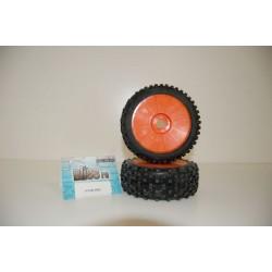 Gomme Bliss rc 1/8 OFF Road Star Pin incollata su cerchio Arancione con esagono 17
