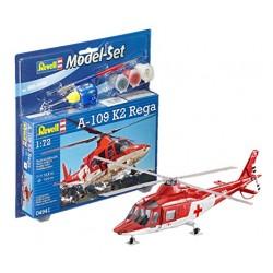 Revell Model-Set A-109 K2 REGA kit elicottero completo colori colla pennello